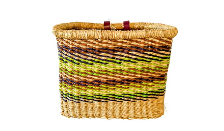 House of Talents Rectangle Woven Basket Green/Brown/Blue