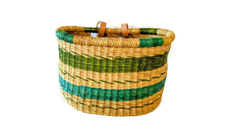 House of Talents Oval Woven Basket Blue/Green
