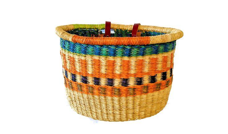 House of Talents Oval Woven Basket Blue/Green/Orange